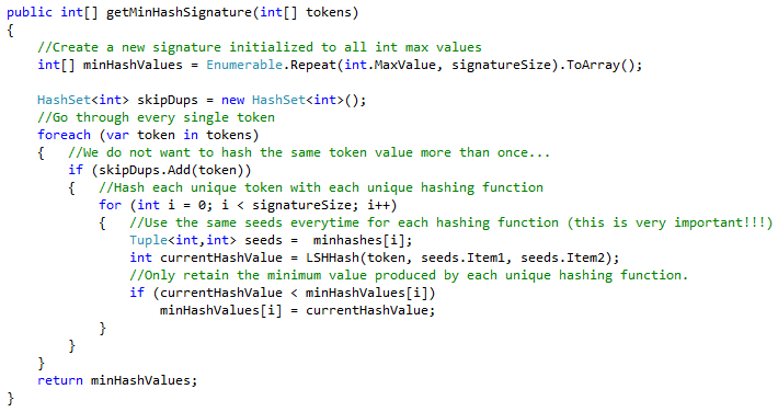 Figure 3 - This function generates a minhash signature using a collection of integers as input.