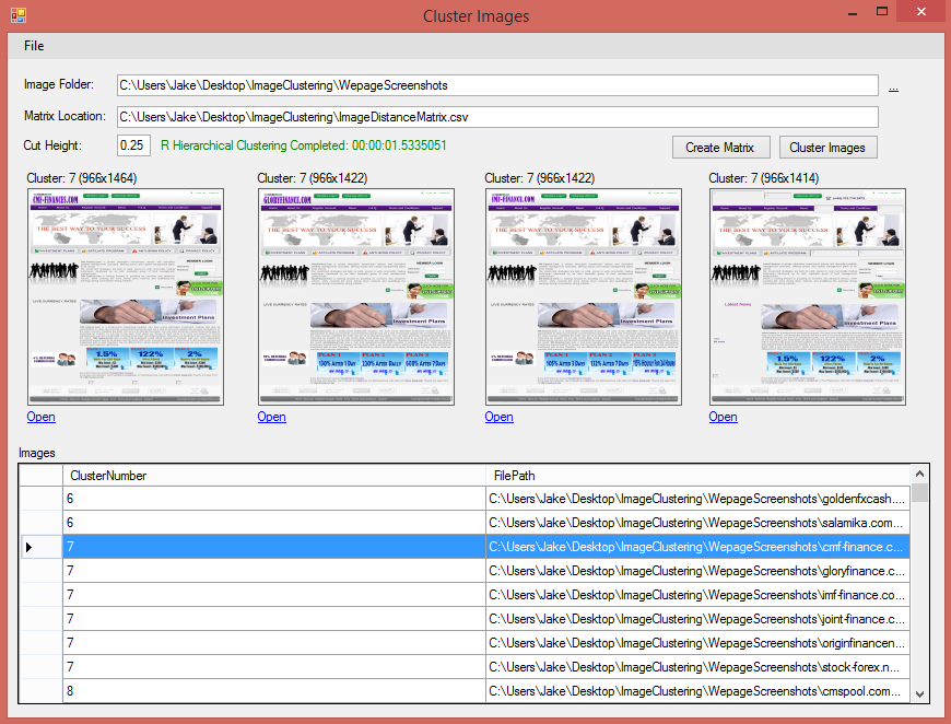 Cluster images are displayed as they are selected by the user.