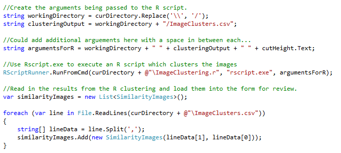 Run R code from C# and then use the results.